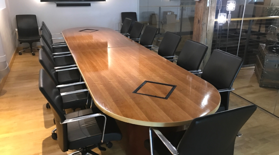 Conference table recently refinished