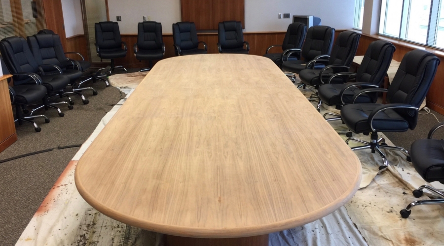 Conference table in process of refinishing
